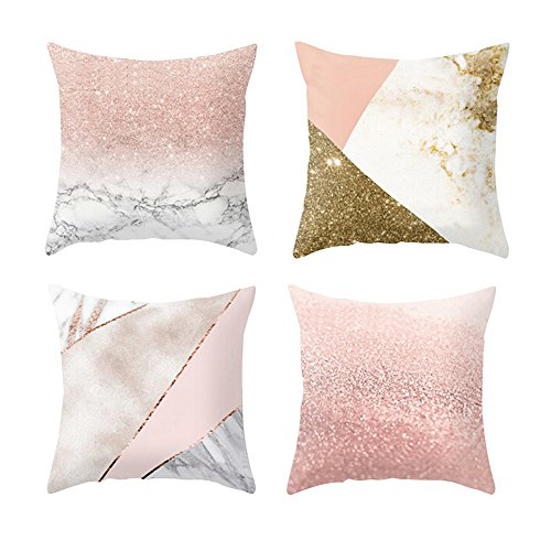 (Urijk Geometric Throw Pillow Case 18 x18 Inch Set of 4 - Soft Polyester Peach Skin Pink Decorative Square Cushion Cover Pillowcase Sofa Car Home Patio Bedroom)