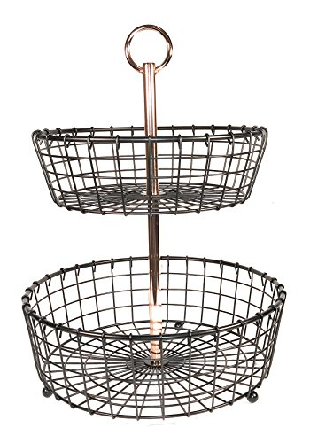 2 Tier Tabletop Basket with Copper plated handle for fruit, vegetables or toiletries (Two Tier Fruit Basket)