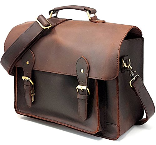 Purple Relic Leather DSLR Camera Bag 15.6-Inch Laptop Briefc