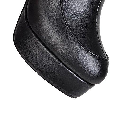 Allhqfashion Mujeres Round Round Toe Tacones Altos Material Blando Low-top Solid Botas Negro