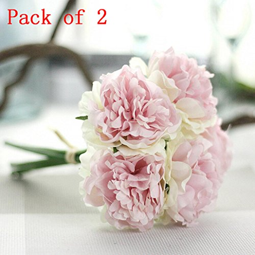 Peony 10 Piece / Bouquets Silk Artificial Flowers Natural Fake Gifts Garden Wedding Festival Balcony Courtyard Home Party Events Table Office Patio Decor Clearance (Multicolor A)