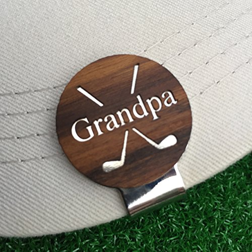 GRANDPA Engraved Golf Hat Clip and Ball Marker Teak Personalized for Dad Father's Day Gift