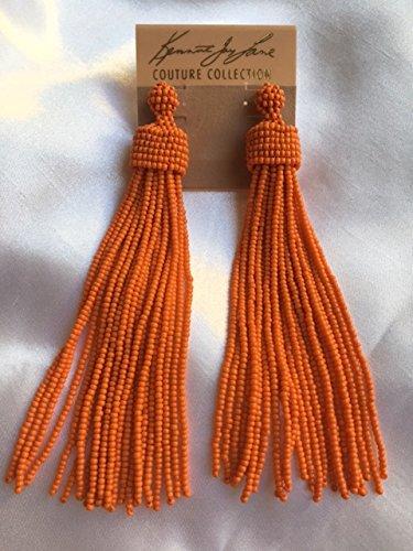 Kenneth Jay Lane Jewelry Coral Orange Seed Bead Long Tassel Earring - Lane Kjl Coral