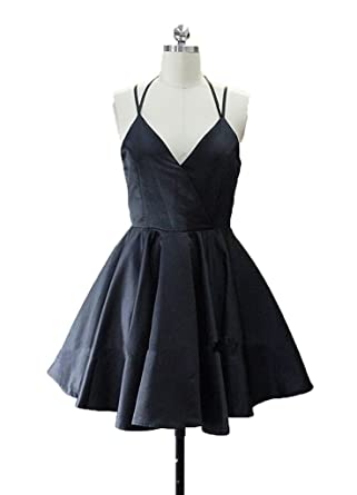QueenBridal Simple 2017 Short Prom Dresses V-Neck Straps Homecoming Dress