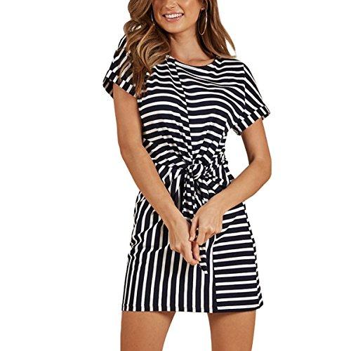 ZMLIA Womens Casual o-Neck A-Line Short Sleeve Self Tie Mini Wrap Dress Size M (Stirpe) (Dress Tie Wrap)