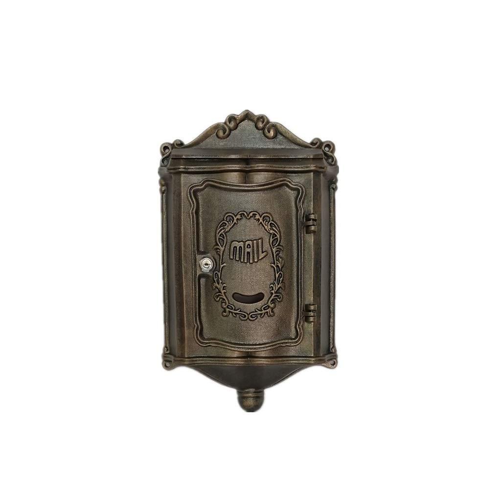 YQCS●LS ヨーロッパの古典的な別荘メールボックス、メールボックスのレターボックスアンティークメタリック、 - ビンテージ手紙メールポストボックス   B07TLK73C6