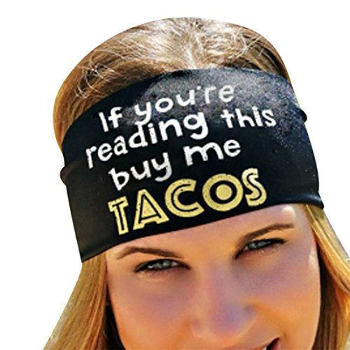 HANYI Original Headband for Sports or Fashion, Elastic Stretch Yoga Headbands Soft Head Wrap Hairband for Teens and Adults (If You're Reading This Buy Me Tacos-Black)