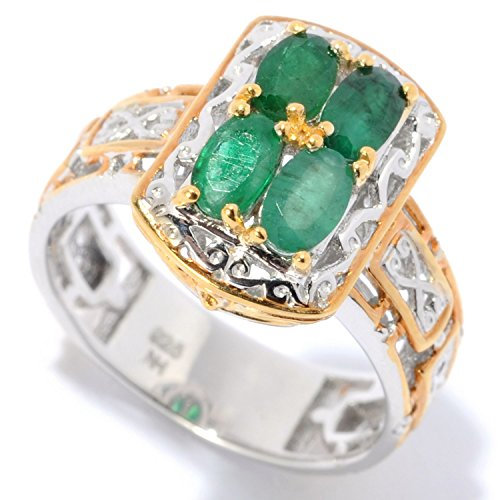 Michael Valitutti Palladium Silver Oval Emerald Mini Cocktail Ring - May Birthstone