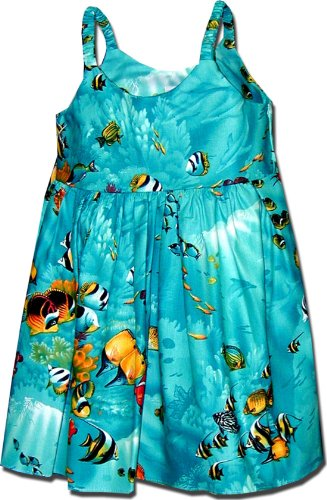 Tank Dress Tropical (Pacific Legend Girls Marine Aquarium Fish Toddler Bungee Dress Turquoise 3-4 for 2yrs old)