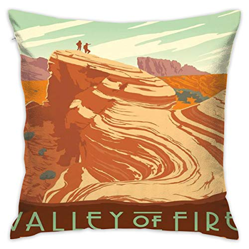 American Travel Poster Valley of Fire State Park Pillowslip Unique Throw Pillow Cover Creative Cushions Case Covers with Zipper Home Decorative Print Pillowcase for Sofa Couch, 18
