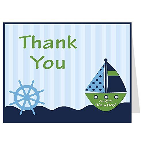 Nautical Thank You Cards, Baby Shower, Stripes, Boys, Navy, Blue, Green, Sprinkle, Birthday, Whale, Ship, Sailboat, 50 Printed Folding Notes with White Envelopes, Ahoy It's a Boy Ships Wheel Green Stripe Note