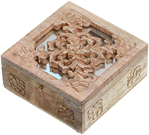 Parents' Day Gifts SALE - Wood Box - Decorative Keepsake Trinket Hand Carved PREMIUM QUALITY Unique Box- Completely Handcrafted by the Artisans of INDIA - Wood Dice Box