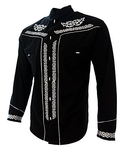 El General Men s Charro Shirt Camisa Charra Western Wear Color Black Long  Sleeve at Amazon Men s Clothing store  242dd4067