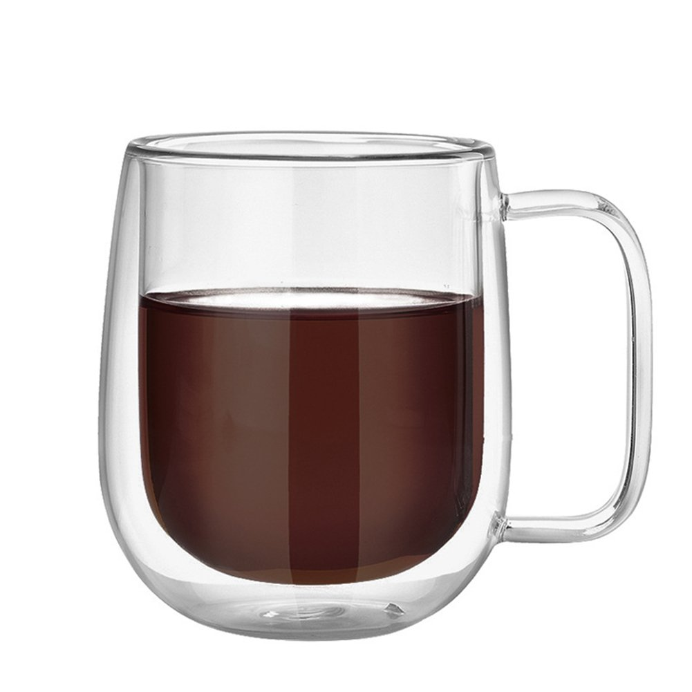 300ml Double-walled Glass Mug With Handle Thermal Insulation Transparent Borosilicate Glass Cups Heat-resistance for Tea, Coffee Lembeauty