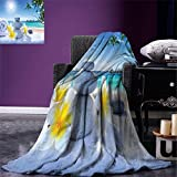 smallbeefly Spa Decor Digital Printing Blanket Spa Treatment on Tropical Beach Sunshines Palm Trees Bungalows Wooden Deck Summer Quilt Comforter