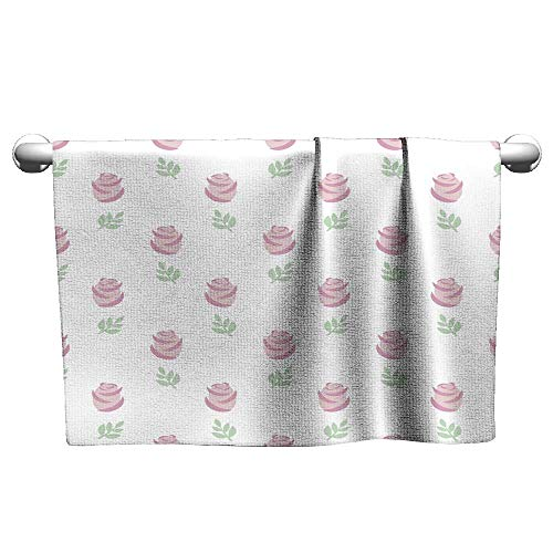Tankcsard Baby Bath Towel Seamless Wallpaper Pink Roses with Leaves on White Background,Towel bar for Glass Shower Door