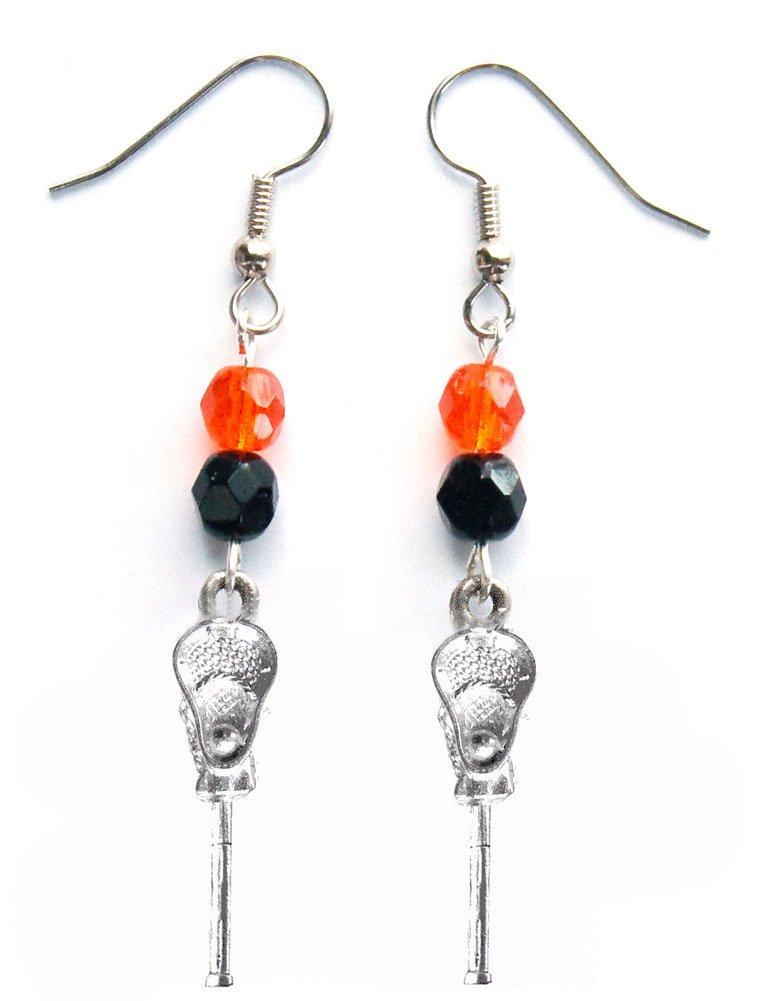 ''Lacrosse Stick & Ball'' Lacrosse Earrings (Team Colors Orange & Black)