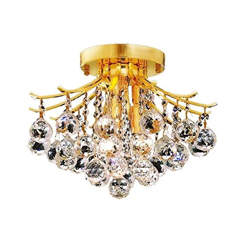 Elegant Lighting 8000F12G/RC Royal Cut Clear Crystal Toureg 3-Light, Single-Tier Flush Mount Crystal Chandelier, Finished In Gold with Clear ()