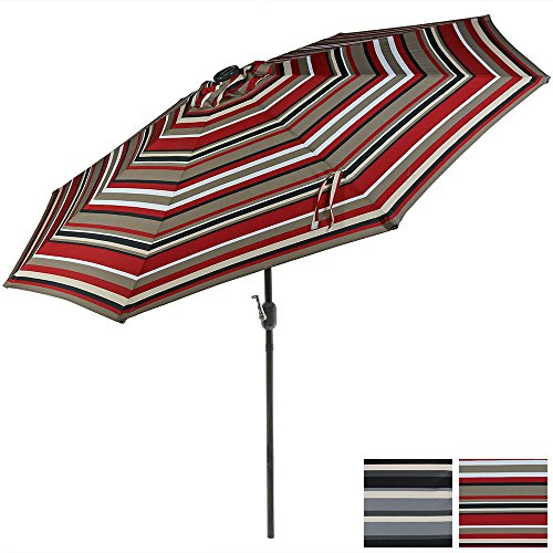 Sunnydaze 9 Foot Outdoor Patio Umbrella with Solar Lights & Tilt/Crank, LED, Awning Stripe Review