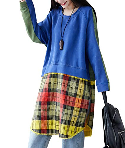 - YESNO Women Long Casual Pullover Sweatshirt Blouse Color Block Checked Stitched Arc Hemline Side Split AH6