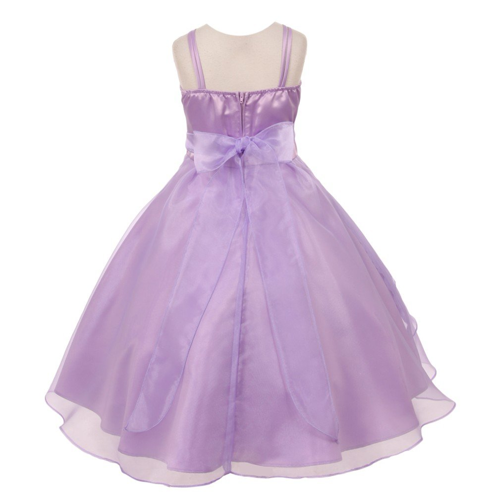 6f31676e8c Amazon.com  Big Girls Lilac Floral Accent Cascade Overlaid Junior  Bridesmaid Dress 8  Clothing