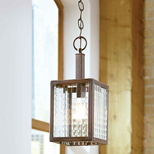 (Home Decorators Collection 1-Light Oil-Rubbed Bronze Mini Pendant with Etched Clear Glass)