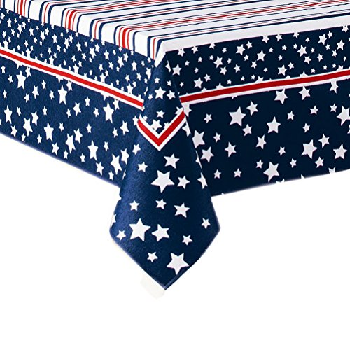 Red Fabric Tablecloth - Celebrate Patriotic Tablecloth Stars and Stripes Red White and Blue Fabric (60 x 84 Rectangle/Oblong)