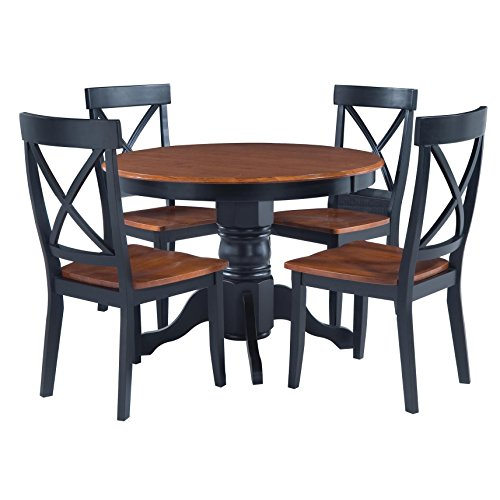Modern 5 Piece Dining Furniture Set Black And Cottage Oak Round