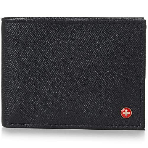 Alpine Swiss Mens Genuine Leather Wallet Slim Flip-out Bifold Crosshatch Black
