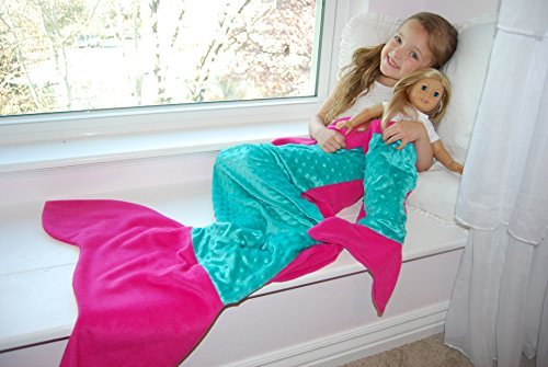 Girl + Doll Mermaid Tail Blanket Set, Hot Pink, Made in the USA