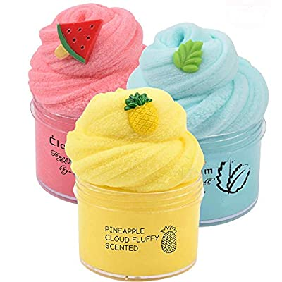 Partyforu 3 Pack Cloud Slime Kit with Red Watermelon and Mint Charms, Scented DIY Slime Supplies for Girls and Boys, Stress Relief Toy for Kids Education, Party Favor, Gift and Birthday: Toys & Games