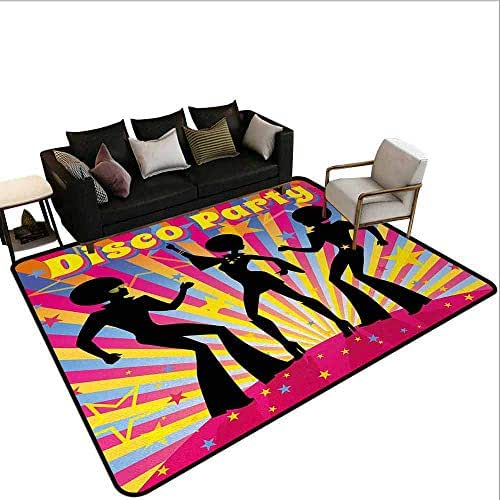 AlEASYHOME Home DéCor Area Rug, Dancing People Silhouettes with Afro Hair Disco Party and Funky Display Print, 3′x3.9′ Personlized Custom Rugs, Multicolor