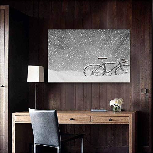 duommhome Winter Art Oil Paintings Bicycle Covered with Snow Cold Weather Seasonal Calm Scenery Christmas Inspired Canvas Prints for Home Decorations 24