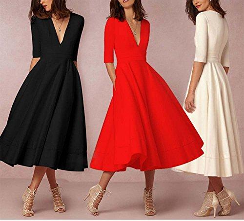 Frauen tief VAusschnitt Kleider Cocktail Bankett Party Kleid MXXXL ...