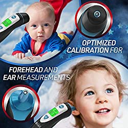 [New 2019 Model] iProven Thermometer for Fever - Forehead and Ear Thermometer - with Fever Alarm - Pouch and Batteries Included - Thermometer DMT-489Black
