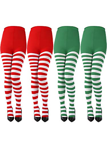 Sumind 4 Pairs Women Christmas Striped Tights Thigh High Socks Panty-hose for Christmas Cosplay Themed Party (Color -