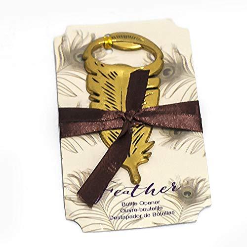 (dngcity Wedding Favor Gold Feather Bottle Opener Set of 20)