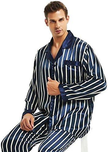 パジャマ CHJMJP 男性のためのメンズシルクサテンパジャマセットパジャマセットPJSパジャマ部屋着睡眠スーツ (Color : Navy Strip, Size : S)