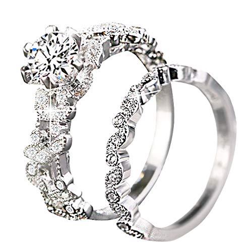 sandywident Unique Leaf Design 925 Plating Silver White Sapphire Diamond Wedding Engagement Ring Set