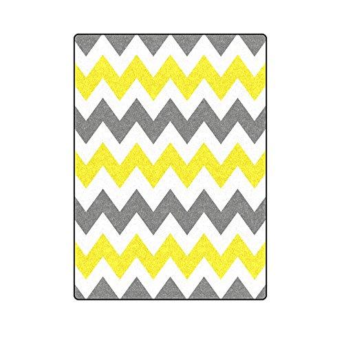 Gray and White Yellow Chevron Stripe Pattern Warmer Winter Fleece Throw Plush Blanket 58