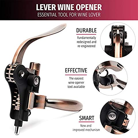 VINABON All-in-One Wine Opener Set – Premium 6pcs Wine Bottle Opener Set with Wine Aerator, Foil Cutter, Stopper, Stand…