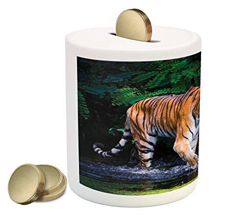 (Ambesonne Safari Piggy Bank, Tiger in Water Stream Hunting Danger Trees Tropical Pond Hiding Captive, Printed Ceramic Coin Bank Money Box for Cash Saving, Green Orange Brown)