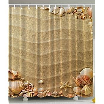 Beige Shower Curtain By Ambesonne Nautical Beach Tropical Hawaiian Seashells Seaside Sea Stars Oysters Maldives