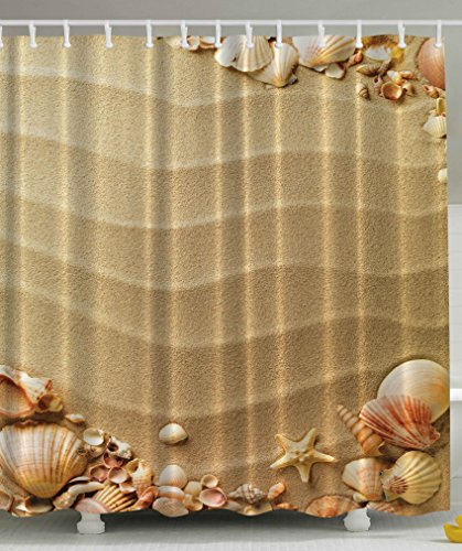 Beige Shower Curtain by Ambesonne, Nautical Beach Tropical Hawaiian Seashells Seaside Sea Stars Oysters Maldives Exotic Romantic Vacation Sand Theme Art Prints Print Fabric , 69x70 Inches, - Sea Shell Collection