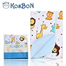 Kosbon 27.5''x20'' Infant Baby Deluxe Flannel And Bamboo Fiber Cotton Change Pad,Waterproof Diaper Changing Pad In Vibrant Color For Home And Travel (M Size, Lovely Lion)