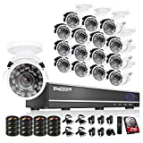 TMEZON 16CH Channel HDMI DVR CCTV Kits Security Cameras System 800tvl IR Cut Outdoor Bullet Hi-Resolution Video Surveillance Cameras with 2TB Hard Drive