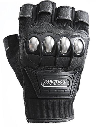 Motorcycle Fingerless Gloves,Dirt Bike Motocross Motorbike Power Sports Racing Gloves Steel Reinforced Knuckle (Black,XXL) by JYH (Image #3)