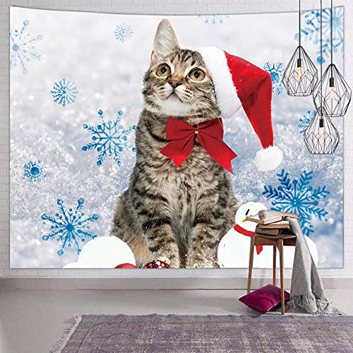 Tom Boy Christmas Snowman Cat Tapestry Wall Hanging Small White Wall Tapestry Hippie Tapestries for Bedroom Living Room Dorm