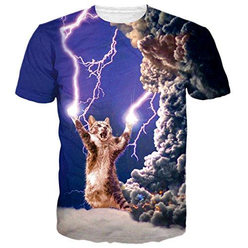 Leapparel El Diseño Ocasional Elegante Unisex 3d Imprimió las Camisetas Cortas de las Camisetas de la Manga Lightning Cat