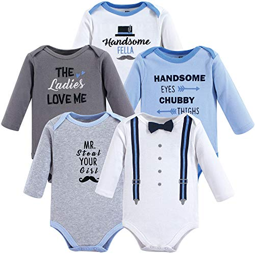 Hudson Baby Unisex Baby Long Sleeve Cotton Bodysuits, Handsome Fella Long Sleeve 5 Pack, 3-6 Months - Bodysuits Boys 5 Pack